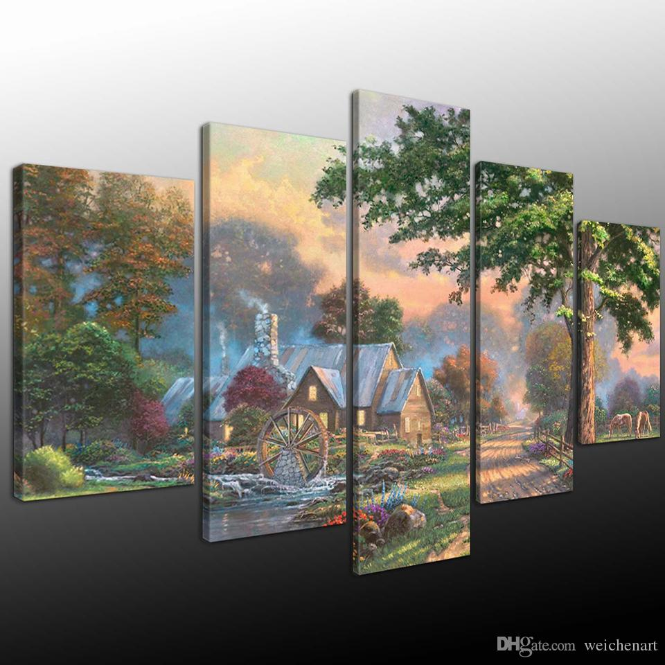 HD Prints Decoration Modern Wall Water Turns Windmills House Trees Landscape Picture Art Canvas Painting Modular Poster