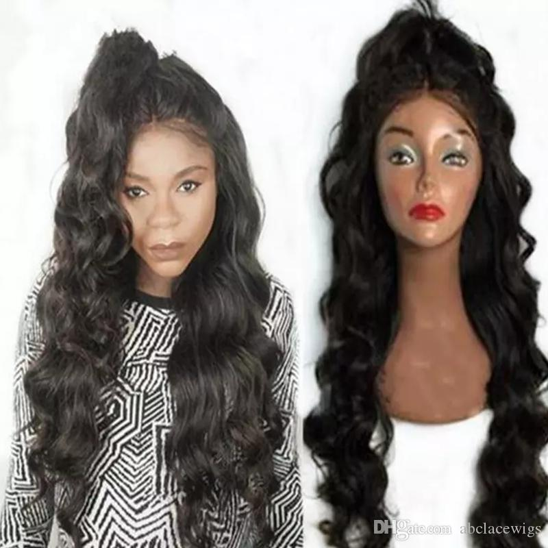 Fashion Free Parting 1b# 2# 6# Body Wave Long Wavy Wigs High Quality Heat Resistant Glueless Synthetic Lace Front Wigs for Black Women
