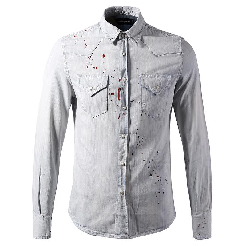0a9e36706be Men s Summer Denim Shirt Male Youth Fashion Cotton Casual Slim Long ...
