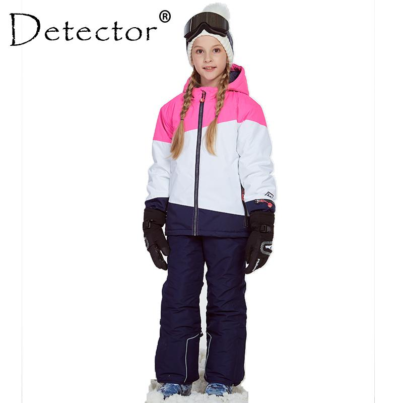 d1e56e562 2019 Detector Girl Ski Jacket And Pant Winter Warm Skiing Suit ...