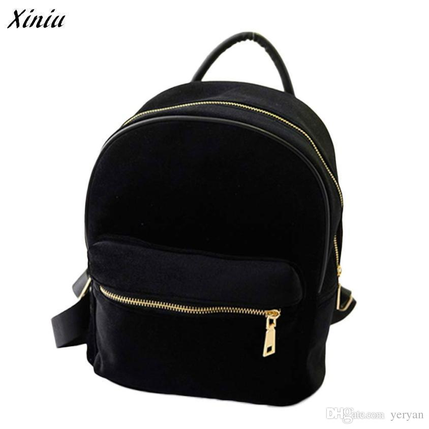 Wholesale- Xiniu Backpack Women Solid Color 24 20 11cm Gold Velvet ... 809efc1622a43