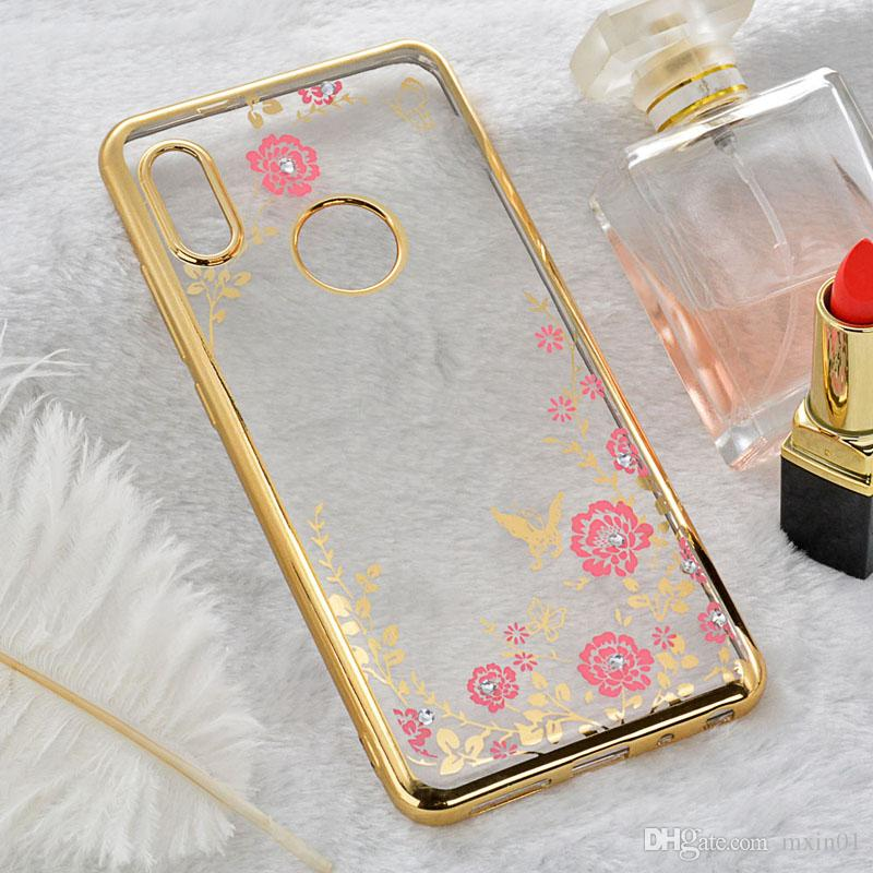 Luxury Bling Diamond Secret Garden Flower Clear Plating Soft TPU Case Back Cover For XiaoMi RedMi 4A Note 2 3 4 5 5A Prime