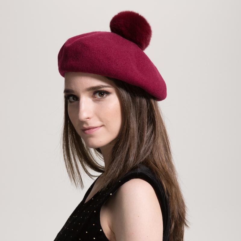 c959bd34ca258 2019 Women Pure Wool Beret Rabbit Fur Pompom Hat Solid Colors Winter Fashion  New Knitted Hat Lady Top Quality Beret Cap From Milknew