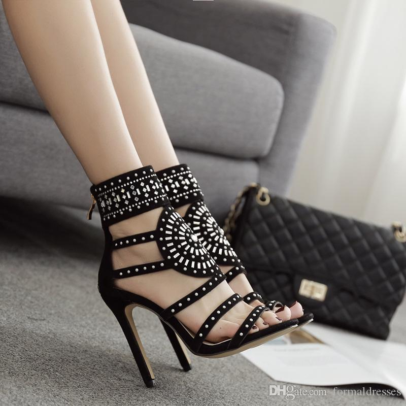 Hot Sale Summer Designer Black Women Sandals 2018 Crystal 11CM High Heel Weeding Shoes Evening Prom Party Pumps African zapatos de mujer