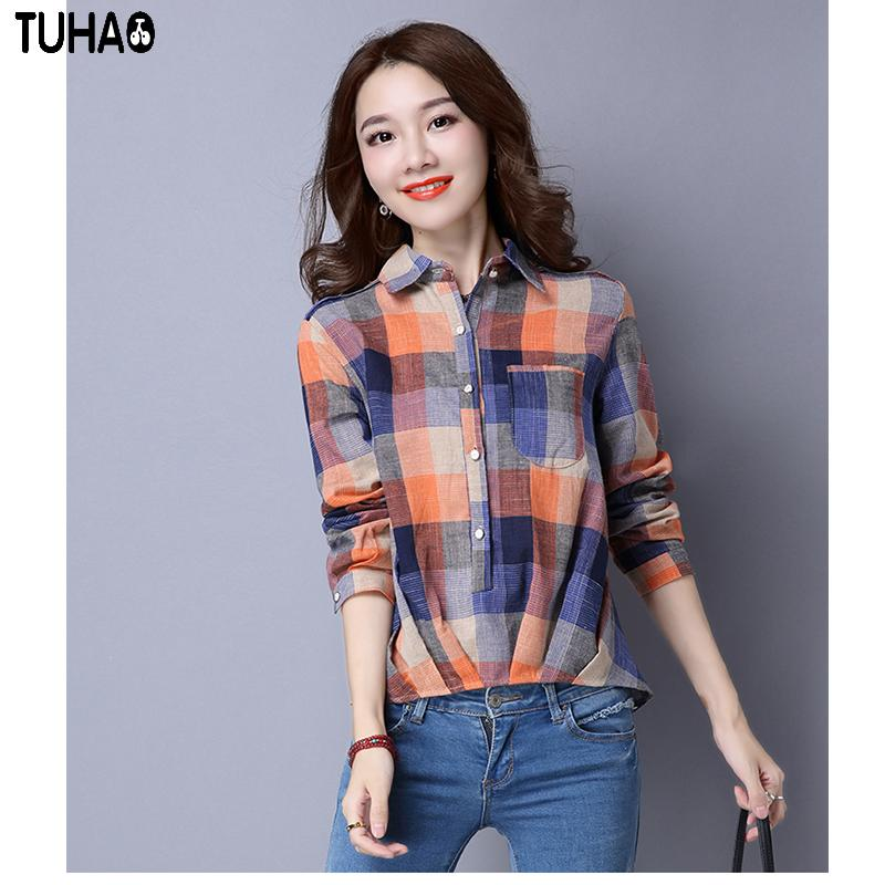 f1441b8e40 TUHAO Button Plaid Check Ladies Shirt 2018 Spring Autumn Cotton Linen  Casual Leisure Party Turn-down Collar Women Blouses LBY19