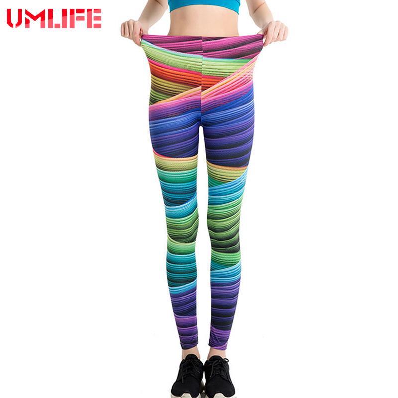 28aa5684836dd 2019 UMLIFE Rainbow Digital Printing Sport Leggings High Waist Compression  Pants Gym Sexy Running Yoga Tights Women Yoga Pants From Huanbaoxin, ...