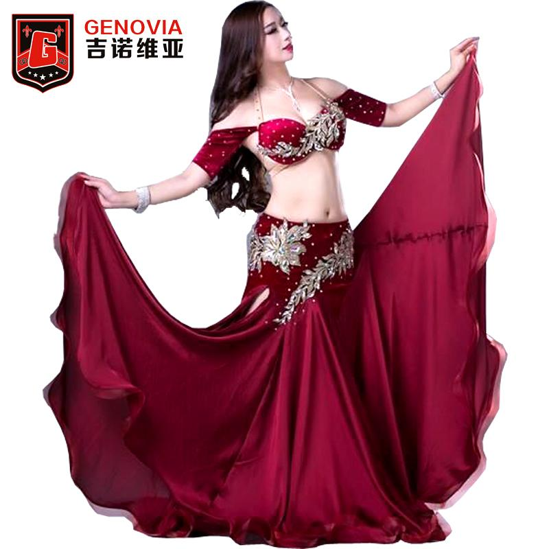 c74d0af3df4c2 2019 Women Professional Belly Dance Costumes Ladies Elegance Oriental Dance  Outfits Bellydance Beaded Top Bra Long Skirt Suit From Crutchline