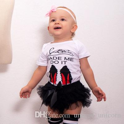 2018 Summer Casual 0-18m Baby Girls Clothing Set high-heeled shoes letter print romper +black tutu shorts 2pcs Suit