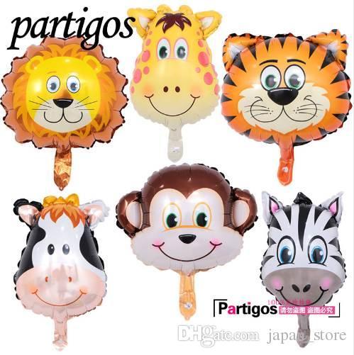 bb8d39993ef2 50 unids mini globos animales decoración de la fiesta de cumpleaños león  mono cebra cabeza de vaca Safari zoo foil globos juguetes clásicos