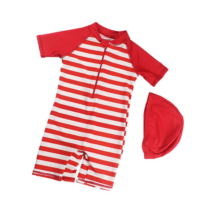 2192b8c2e2 2019 Boys Swimwear One Piece Red Print Bathing Suit For Babies Swimsuits  For Children Kids Short Sleeve Striped Baby Boy Swimsuit From Namenew, ...