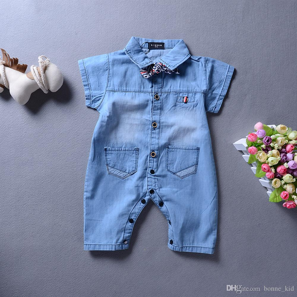 94089bb3cc7b 2019 2018 Summer Baby Boy Clothes Denim Romper Jumpsuit Onesies Boys ...