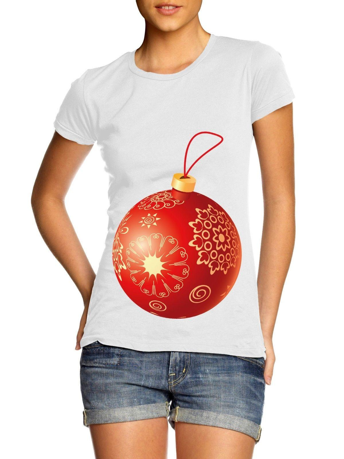 pregnant bauble ladies womens t shirt christmas maternity novelty funny present cool casual pride t awesome t shirts cotton shirts from cls6688524 - Christmas Maternity