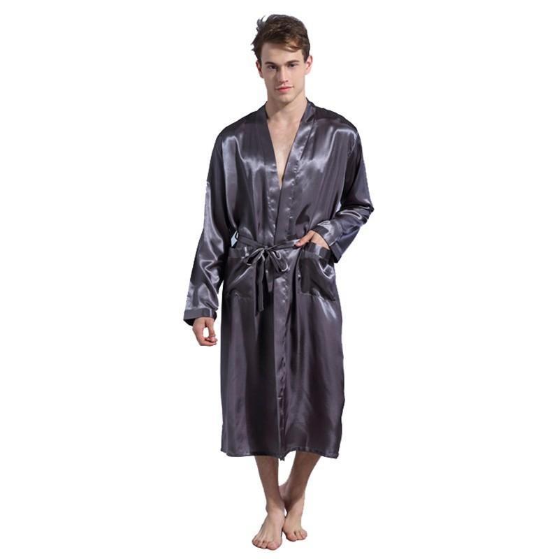 48fdb4cbdb 2019 Men S Solid Robes Black Long Sleeve Men Robes Gown Loose Plus Size  Male Kimono Bathrobe Sleepwear Nightwear Pajamas S M L XL XXL From Donahua