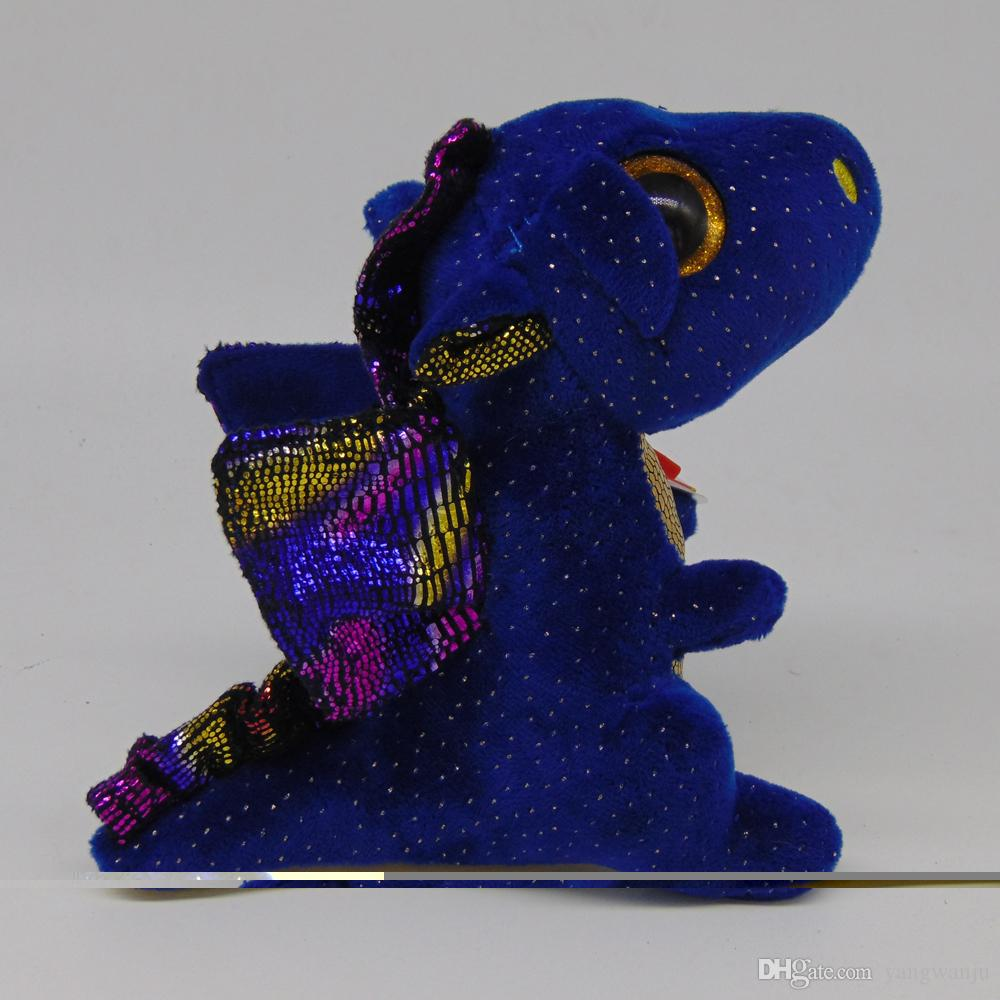 "Ty Beanie Boos 6"" 15cm Saffire Dragon Plush Regular Stuffed Animal Collectible Soft Doll Toy"