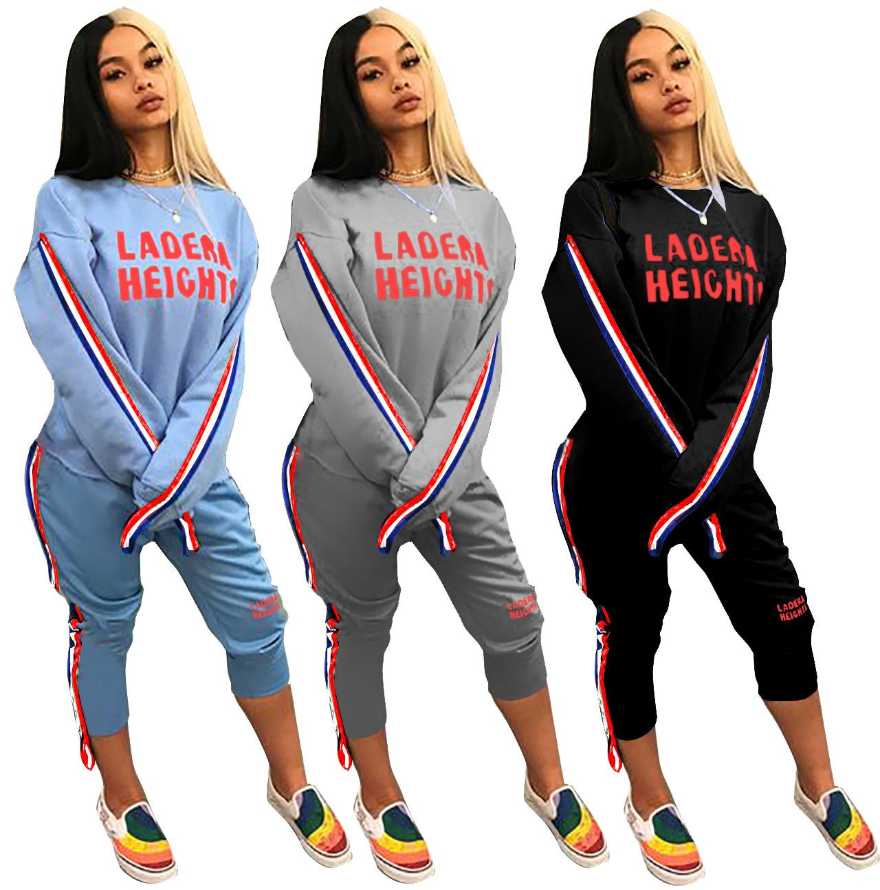 2019 Women Letter Print Tracksuits Top + Pants Woman Set Outfit Womens  Tracksuits Sweatsuits Sweat Suits Clothes Clothing From Hengda999 cc1ebec754f2