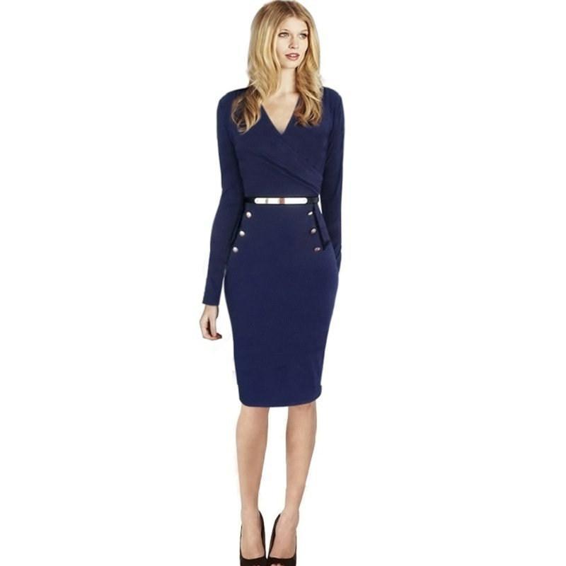 Großhandel Frauen Reizvolles Kleid Mit Knopf Dünner V Ansatz ...