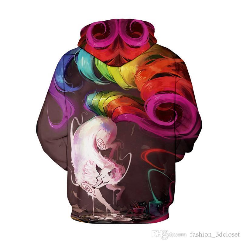 3D Fox Hoodie Sweatshirt Men Colorful Tails Tracksuits Pullover Mens Hip Hop Hooded Tops New Arrival Streetwear Boys Sportswear