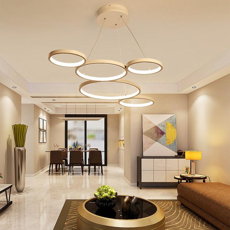 Compre Minimalismo Moderno LED Colgante Luces Para Comedor Sala De ...