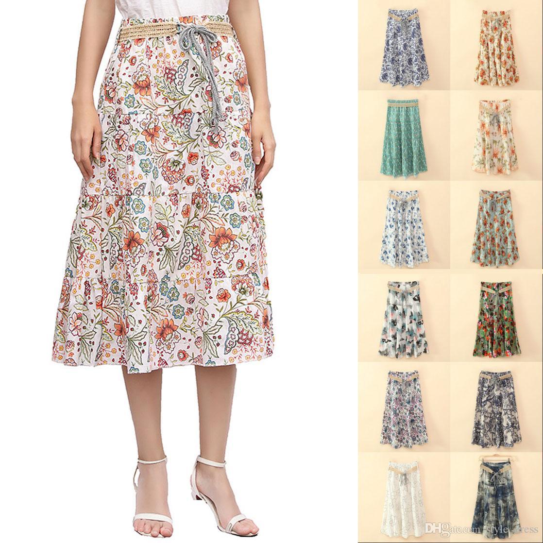 5427cb96eecdf Bohemian Women Midi Skirt Summer Beach Floral Print Belted High Waist Boho  Skirt