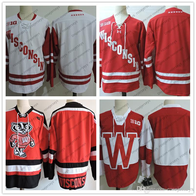 NCAA Wisconsin Badgers Blank College Hockey Jerseys White Red Stitched  Men S Vintage Retro No Name Number Size S M L XL XXL 3XL UK 2019 From  Rosejerseys f8c3106fea9