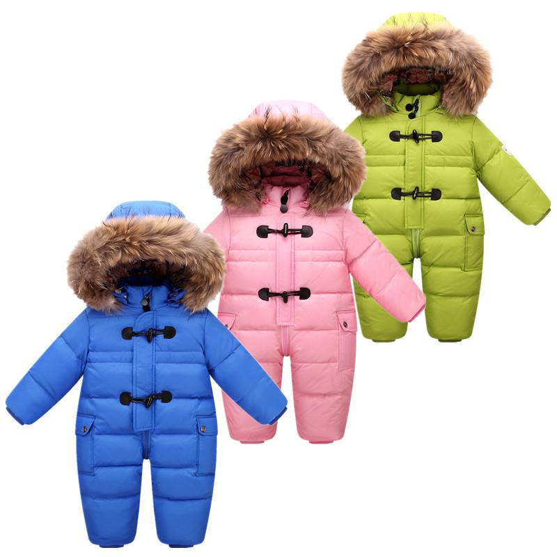 9047c9c30 2018 NEW Style Russian Winter Baby Snowsuit 90% Duck Down Jacket For ...
