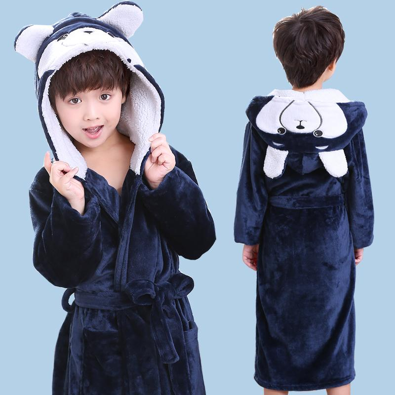 Fashion 2018 Baby Hooded Bathrobe Spring Autumn Cotton Bathrobe Children  Bath Robes Boys Cartoon Long Flannel Kids Swimming Robe Y18102908 Kids  Pajamas Sale ... 4ec30dd6a