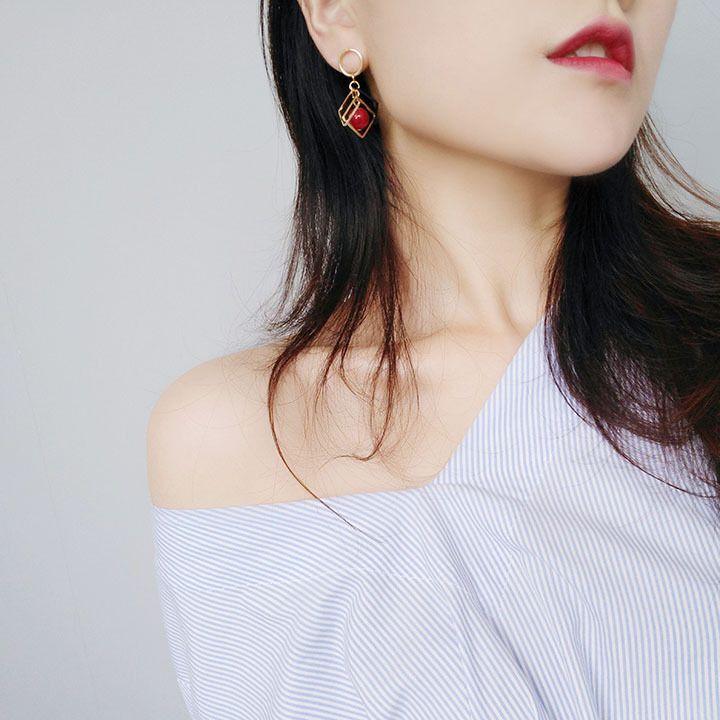 2018 yeni Geometrik elmas inci kadın küpe basit moda vahşi küpe kadın kulak takı