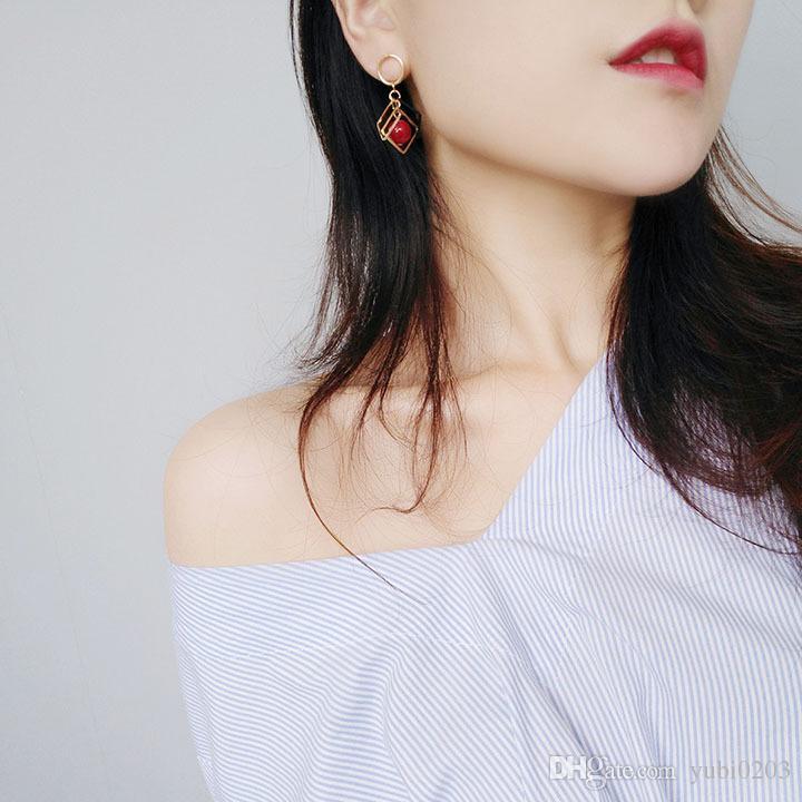2018 yeni Geometrik elmas kiraz inci küpe basit moda vahşi küpe kadın kulak takı
