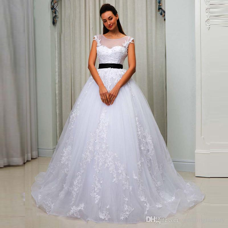 Discount A Line Wedding Dresses 2018 With Black Sash Sheer Bateau