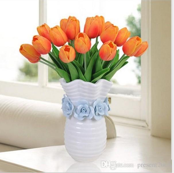 tulipes latex artificiel PU bouquet de fleurs fleurs contact réel pour la décoration maison de mariage Fleurs décoratives 10 couleurs Option