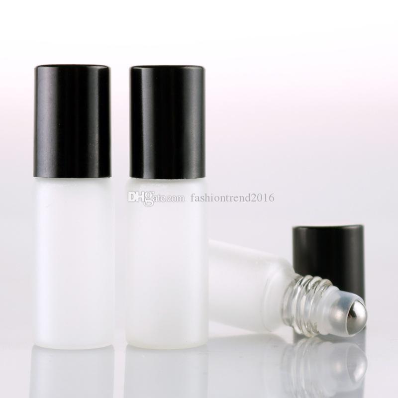 Flacone in vetro bianco satinato da 5 ml con flacone di metallo Flacone in vetro profumato con profumo di vetro Flacone di olio essenziale con cappuccio nero / oro / argento