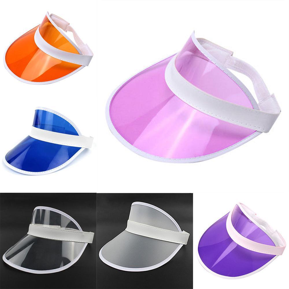 New Women s Sun Hats Transparent Plastic PVC Empty Top Hat UV ... a9937c8e215