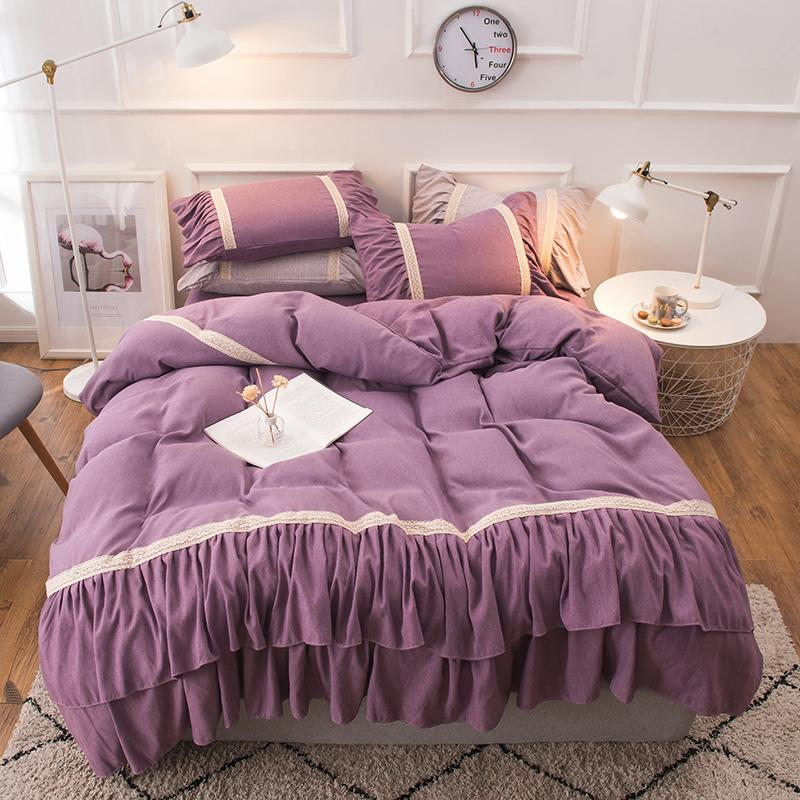 Grosshandel Lila Rosa Grau Luxus Prinzessin 100 Baumwolle Madchen