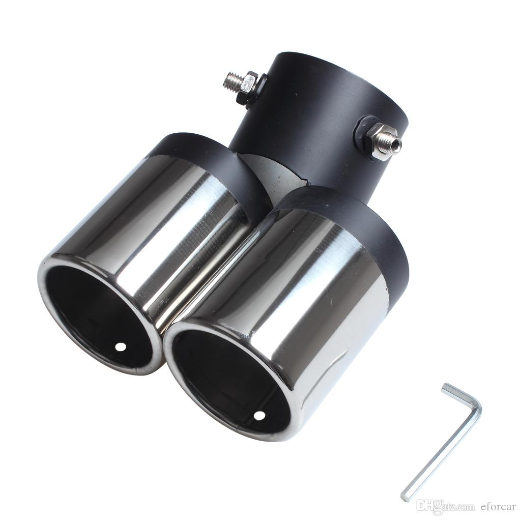 150MM Exhaust Pipe Car Stainless Steel Chrome Double Dual Exhaust Rear Tail Muffler Tip Pipe Wholesale
