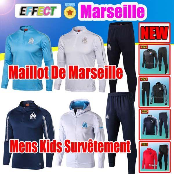 8244bddf29d0f Compre 2018 2019 OM Olympique De Marseille Survetement Kits De Chaqueta  Maillot De Foot L.GUSTAVO PAYET THAUVIN Francia Mbappe Training Suit Niños  ...
