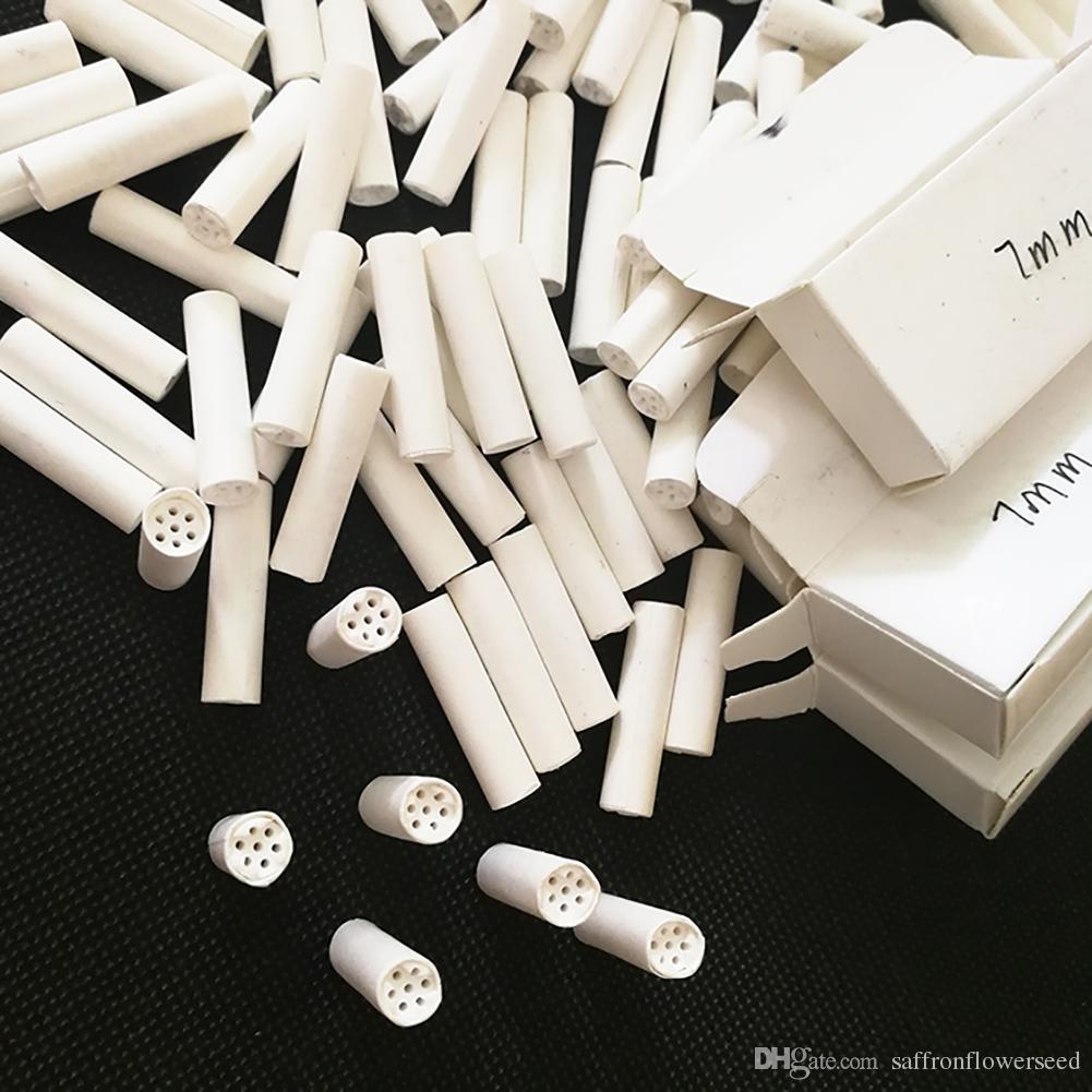 7mm 26mm Ceramic Caps Activated Charcoal Carbon Paper Tube Smoking Cigarette Tobacco Tar Filter Cigar Ecig Vape Filter Tips