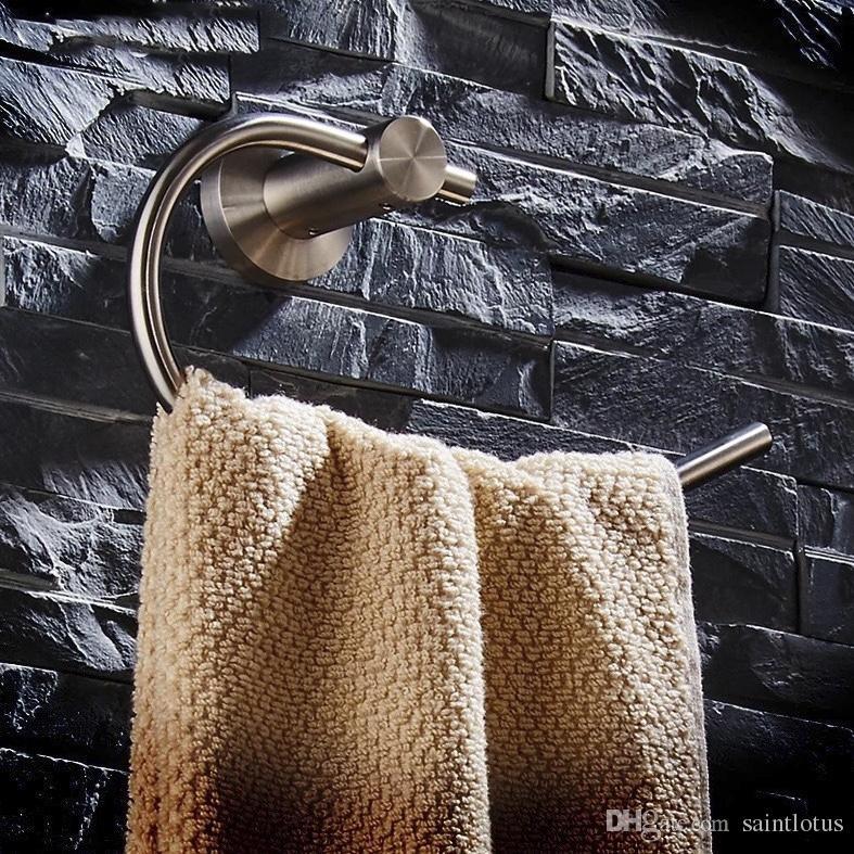Solide Edelstahl Silber beendet Badezimmer Handtuch Ring Badezimmer Zubehör Halbkreis Handtuch Ring Rack Handtuch Regal, Handtuchhalter