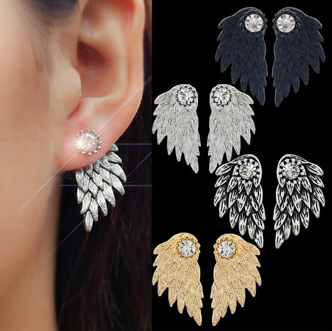 8f6c165b0c48f0 2019 Man Woman Retro Angel Wings Earrings Feather Crystal Alloy Ear Studs  Black Silvery Palaeo Gold Palaeo Silver Selection From Heqishengcai2013, ...