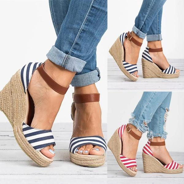 a4614c4b226 New Fashion Women Summer Shoes Wedge Heel Ankle Strap Stripe Espadrille  Sandal Ladies Casual Platform Sandal Feminino Cute Open Toe Wed Cheap Shoes  For ...