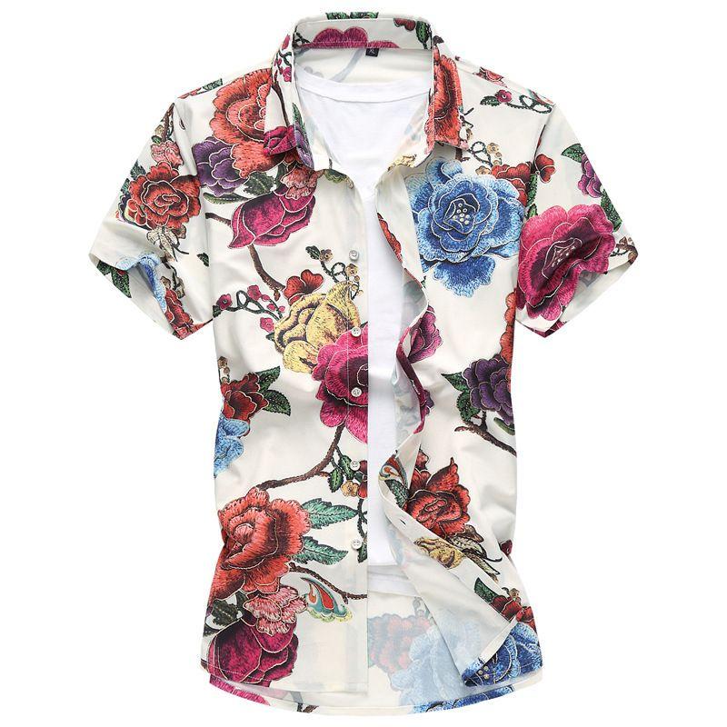 the latest 1ec30 eda9e Nuovo uomo taglie forti camicie maniche corte abbottonarsi camicia casual  uomo stampa floreale camicia uomo estate spiaggia camicie taglia 6XL 7XL ...