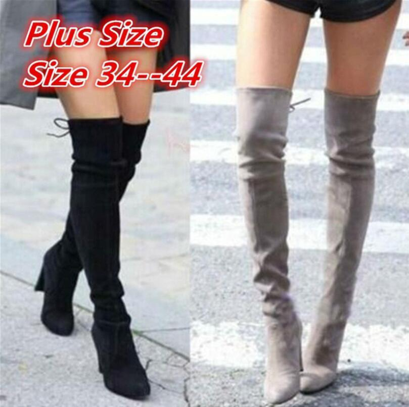 2e3ee385de2 2018 New Faux Suede Slim Boots Sexy Over The Knee High Women Fashion ...