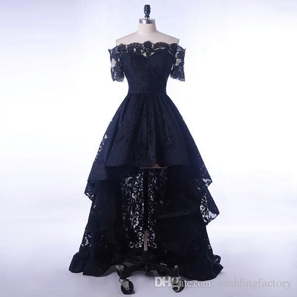 Vestido de encaje negro Noche Corto Frente Largo Volver Cuello barco Vestidos de baile para mujeres elegantes Fiesta formal Manga corta Hola Bajo