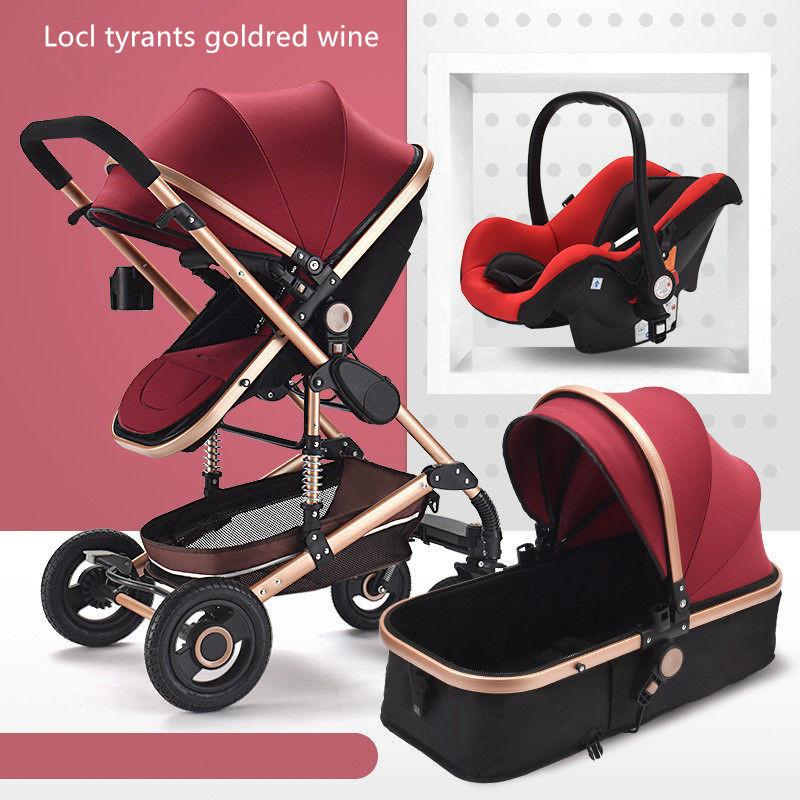 2019 Luxury Baby Stroller 3 In 1 High Landscape Stroller Folding