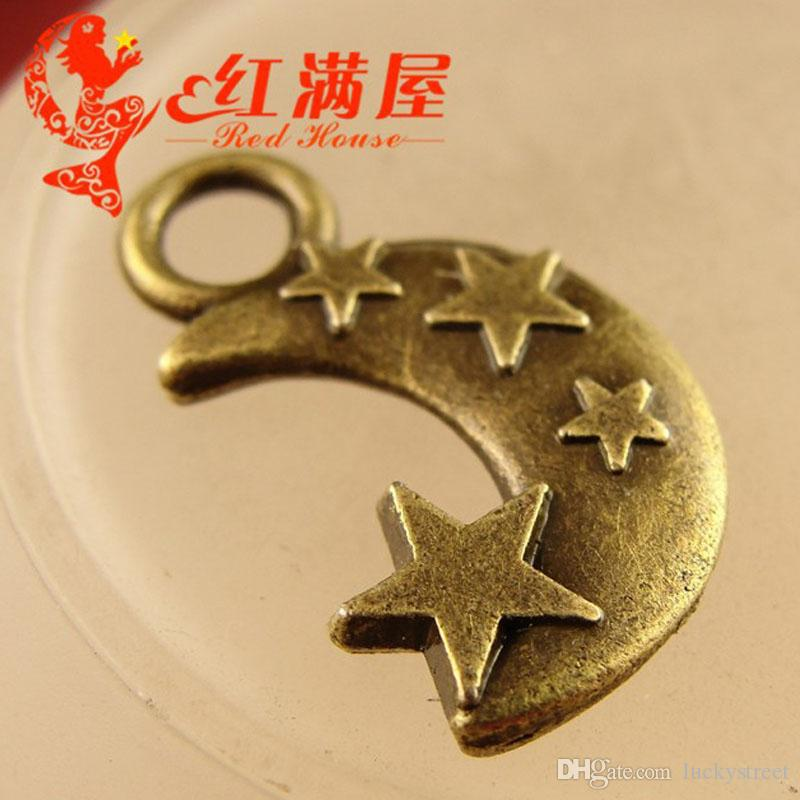 A3783 20*12MM Zinc alloy plating ancient bronze metal Moon Star charms small pendant wholesale DIY jewelry accessories Retro