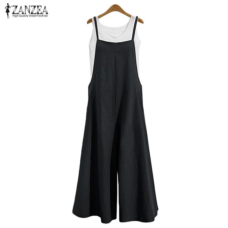 9ee049d6eeb 2019 2017 Women Casual Solid Spaghetti Straps Pockets Romper Dungaree Bib Overalls  Loose Linen Jumpsuit Long Wide Leg Pants Plus Size From Yzlwatchfine