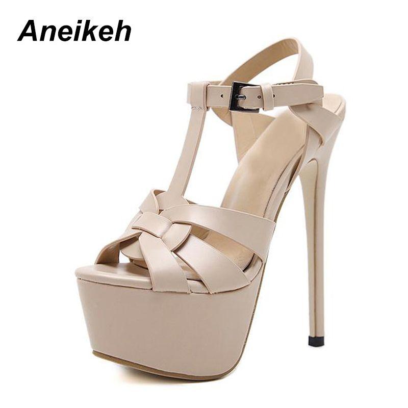 7179acfd3a84 Aneikeh Stiletto Sandals 17CM Platform High Heel Sandals Fashion Open Toe  Gladiator Sandal Summer Platform Sexy Pole Dance Shoes Platform Heels Black  ...