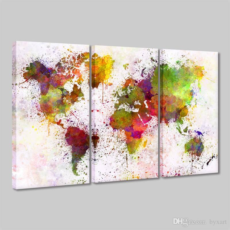 Watercolor world map wall decal canvas painting 3 panels pieces map watercolor world map wall decal canvas painting 3 panels pieces map of the world abstract colorful wall art giclee prints home decor world map canvas decor gumiabroncs Images
