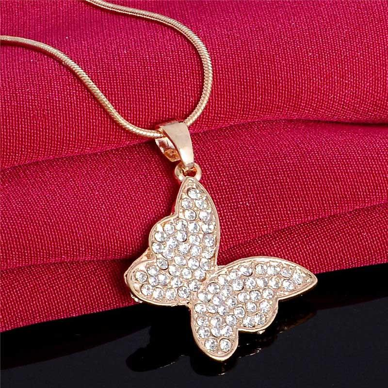 Atreus Austria Crystal Gold Color Cute Butterfly Earrings Necklaces Bridal Jewelry Sets Wedding Dress Wedding Accessories