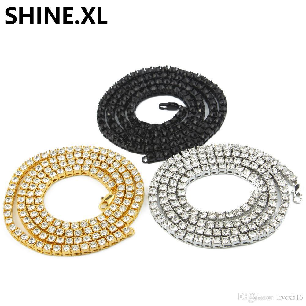 Bling Bling Nuevo 1 fila de tenis collar / pulsera 20/22/24 pulgadas acabado en plata laboratorio creado diamantes 4MM helados solitarios