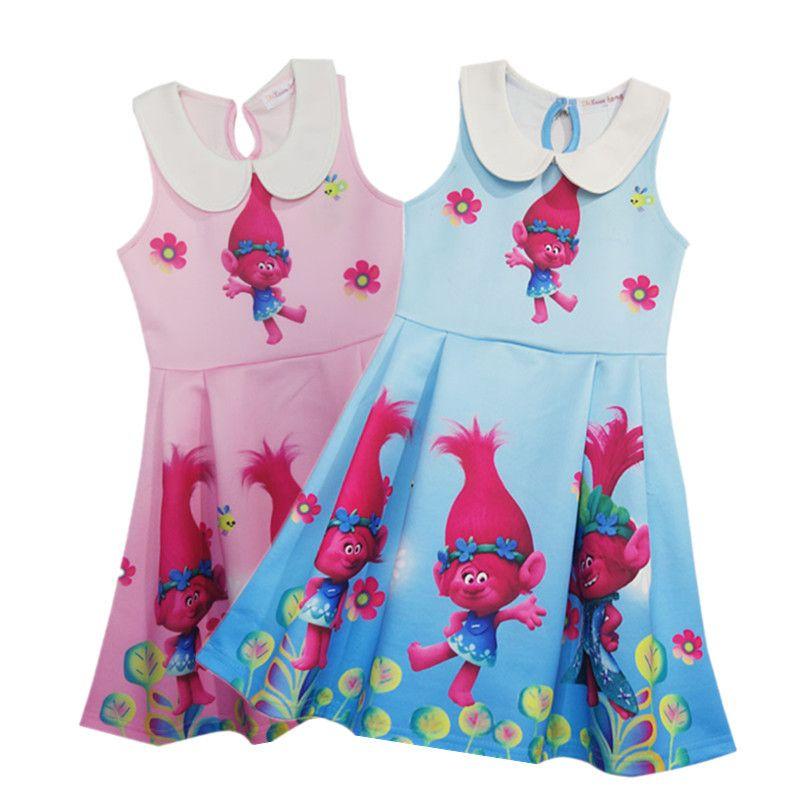 0a0274c84c 2019 2017 Trolls Pleated Princess Dress Children Cartoon Sleeveless Dresses  Kids Clothing Skirt B0159 From Lina 2016